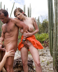 Lucky guy outdoor fucking two horny bitches and gives facial