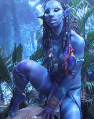 Misty Stone grabs and rubs her nice blue alien tits for you