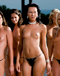 Eight natural babes with great sexy bodies all together