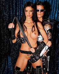 Futuristic fetish brunette fucking a robot guy and facial