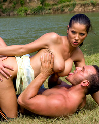 Big tit brunette bitch fucked by two guys at the countryside