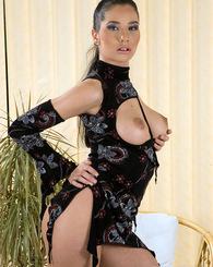 Amazing blue eye brunette babe poses wearing elegant dress
