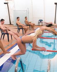 Four sexy chicks swim and big gang bang orgy by the pool