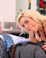 Blond babe Diamond Foxx get pounded sideways in the dressing room.