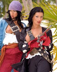 Two naughty pirate babes get horny and dirty in an island