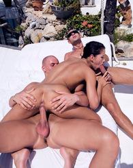 Amazing model fucks her two assistants in her villa patio