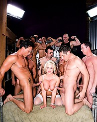 Dirty blonde schoolgirl enjoys 15 big cocks inside her holes