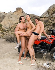 Tough girl in double penetration action on a quad machine