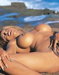 Carmel skinned Anna is naked in paradise.