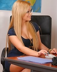 Two blonde office beauties sucking cock