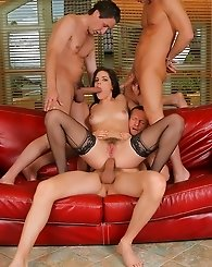 Wild Babe Takes Four Cocks with all her Holes
