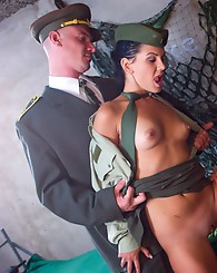 Crazy military babe and her bisexual friend fucking a guy